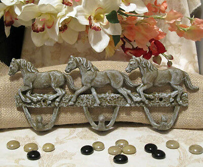 Cast Iron GALLOPING HORSES 3-Hook WALL HOOK COAT RACK TACK HAT RACK Sage/Gray