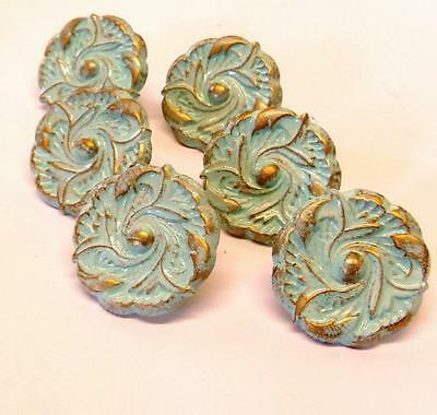 Lot 6 French Provincial Aqua Distressed Shabby Knobs 1-1/2""