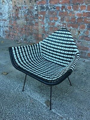 1960's RETRO VINTAGE BLACK AND WHITE WEAVE BASKET CHAIR - BEDROOM ARMCHAIR CHAIR
