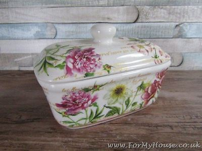 Flower garden floral Butter dish Fine china LP92343