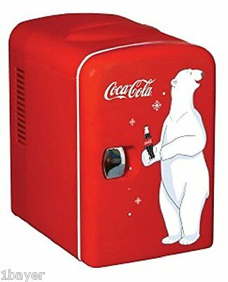 Coca-Cola Vintage Personal Kitchen Bar Refrigerator Mini Beverage Fridge (6 Can)