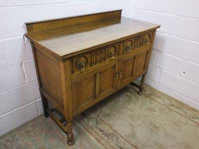 1920,s SOLID  LIGHT OAK CARVED SIDEBOARD, 2 DRAWERS OVER CUPBOARD