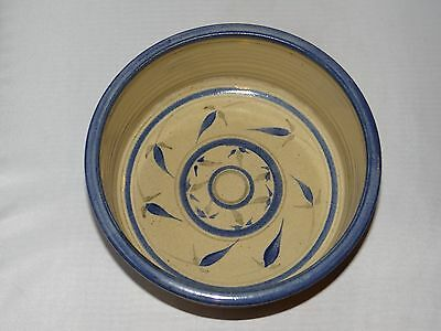 FRYE Studio Pottery Bowl Hand Painted Blue Floral Flower Pattern Signed 1988