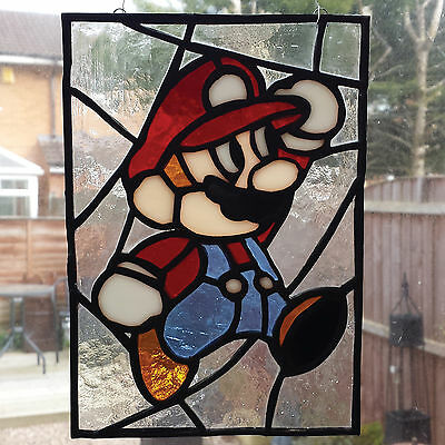 Super Mario Stained Glass Panel / hanger / wall art / suncatcher. nintendo