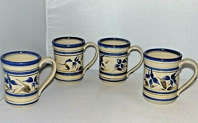 FRYE Studio Pottery 4 Mugs Hand Painted Blue Floral Flower Pattern Signed 1990