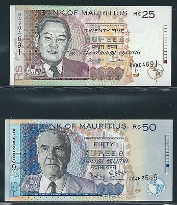 Mauritius 1998-99 - 25, 50 Rupees - #42, 50a - Uncirculated