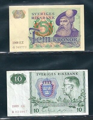 Sweden 1963-76 - 5, 10 Kronor - #51a, 52e - 10 Krona is Circulated