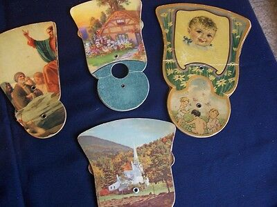 Lot/4 Vintage Advertising Hand Fans That Pull Out & Fold In