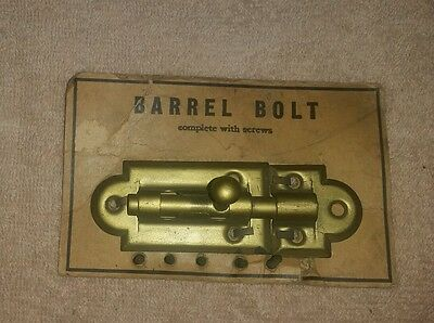 Copper Wash Barrel Bolt Latch Lock 4 Inches Long with Screws - Vintage USA