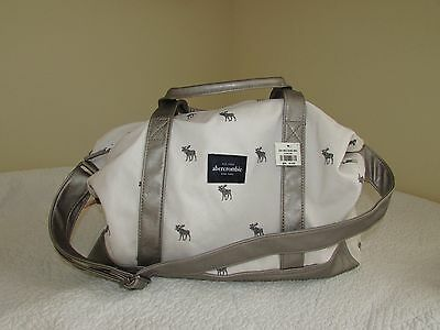 Abercrombie & Fitch Girls Moose Logo Duffle Weekender Overnight Faux Leather Bag