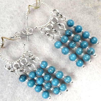 Byzantine Medieval Style Hoop Earrings Sterling Silver Magnesite Turquoise