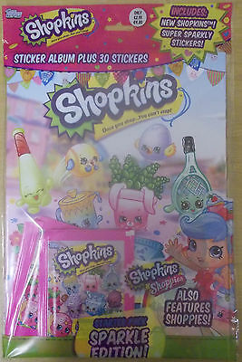 Shopkins Sparkle ~ Topps Sticker Collection Starter Pack & 30 Stickers