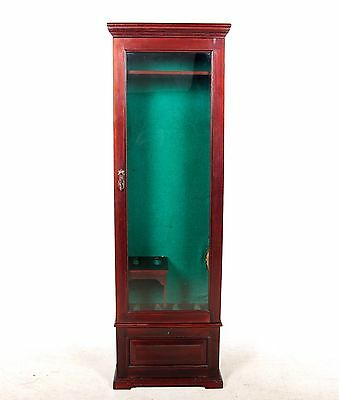 Antique Gun Cabinet Mahogany Slim Glazed Glass Cabinet Fine Quality Victorian 19