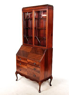 Antique Secretaire Bureau Bookcase Victorian Mahogany Glass Writing Desk Chest