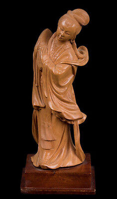 China 20. Jh. Holzfigur -A Chinese Carved Wood Figure of a Maiden Chinois Cinese