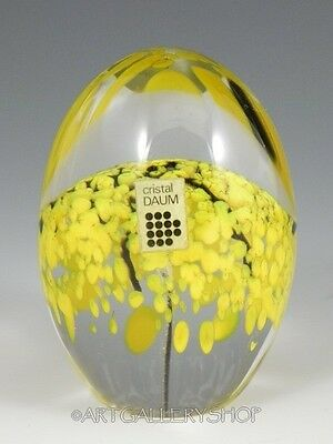 Daum France Art Glass PAPERWEIGHT EGG SHAPED YELLOW TREE with Sticker