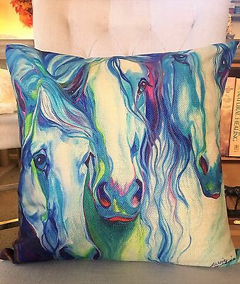 "Cotton Linen ""Three Spirits Equine"" Horse Pillow by Artist Marcia Baldwin"