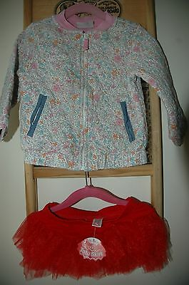 Baby girls jacket & red tutu skirt small bundle Next, unbranded age 18-24 months