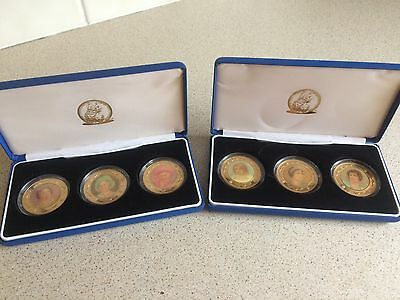 Set Of Six Enamel Royal Medal Coins, A Tribute To The Queen Mother 2002