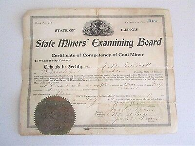 Illinois State Miner's Examining Board Certificate of Competency Coal Miner 1917