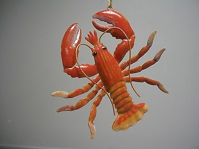Tropical Maine Life Red Metal Lobster Hanging Christmas Ornament NWT