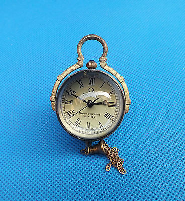 Work CHINESE OLD BRASS GLASS pocket watch BALL clock ##109