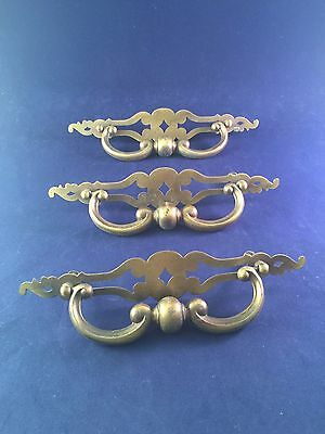 Vintage Lot Of 3 Metal Drawer Cabinet Pulls Handles Knobs