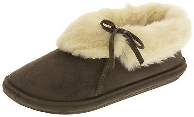 Womens Jyoti Faux Suede Brown Fur Slippers - Sizes 3 - 8