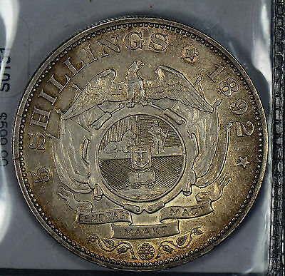 S0151 South Africa 1892  5 Shillings AU lustrous combine shipping