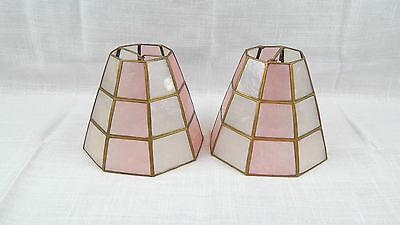 """Set of 2 Small 4 1/4"""" tall Capiz Shell Paned Bulb Top Lamp Shades Pink & Clear"""