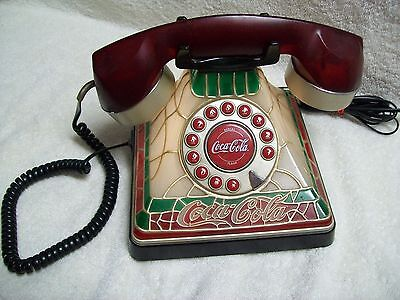 Vintage Coca-Cola Stained Glass Look Polycept Lighted Telephone 2001