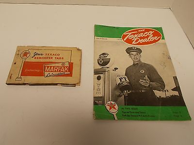 Vintage TEXACO Dealer Monthly News Magazine & Book of loose Reminder Tags