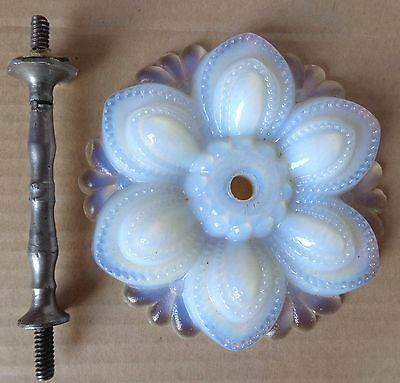 """1 Antique Opalescent Sandwich Glass Curtain Tieback 4 3/8"""" dia c.1860 sold as is"""