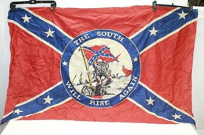 """Vintage The South Will Rise Again USA Conf 4' 8"""" INCH  x3ft  Flag Made Italy"""