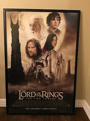 LARGE SIZE FRAMED MOVIE THEATER  POSTER the LORD OF THE RINGS THE TWO TOWERS