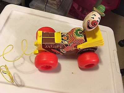 Antique 1965 Fisher Price Jalopy with Original Pull Cord