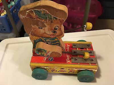 1962  Fisher Price Tiny Teddy Pull Toy