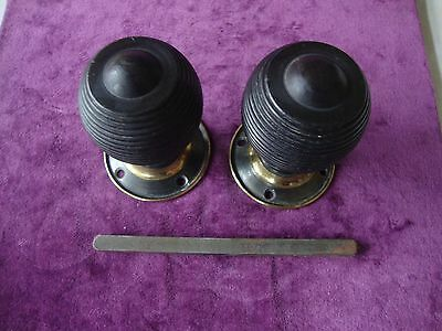 Antique ebony and brass  mortice lock  beehive/reeded door handles/knobs