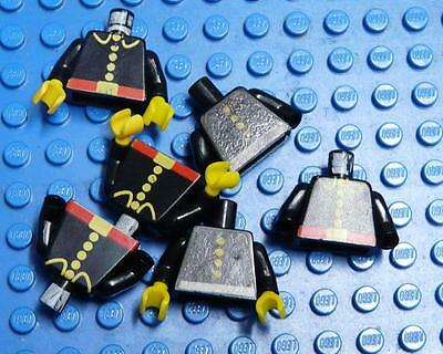 LEGO Minifig Torso Assorted Black with Buttons x6PC