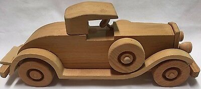 """Vtg 1929 Packard Le Baron hand carved solid wood wooden car 13"""" long toy car"""