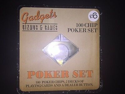 Gadgets 100 Chip Poker Set, 2 Decks Cards, Dealer Button Gift Game NEW