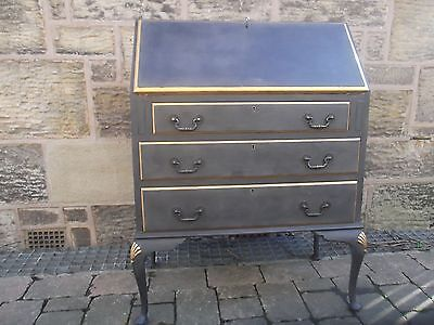 superb vintage bureau/writing desk painted in graphite with gold detailing