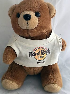 "Hard Rock Cafe London Collectible 9"" Teddy Bear Souvenir Memorabilia VGC"
