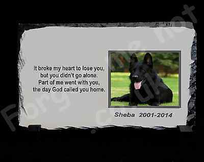 Pet Dog Cat Personalised Photo Memorial Slate Plaque poem