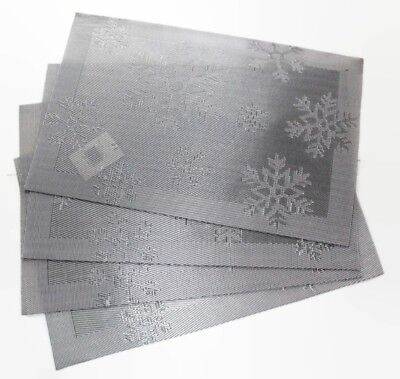 Set of 4 Large Christmas Placemats Dinning Room Jacquard Table SILVER SNOWFLAKES