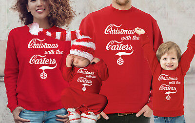 Customized Family Christmas jumpers and baby's bodysuit rompasuit set.