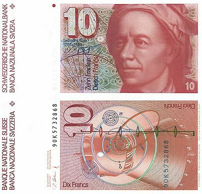 SWITZERLAND - 10 Franken / Francs  1990  P.53h    UNC