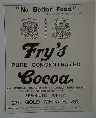 Old Advert Frys Cocoa 1899