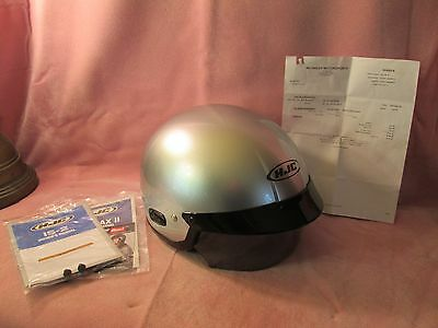 Motorcycle Half Helmet w/ Visor Silver L w/Papers 105.00 at Reynolds Motorsports