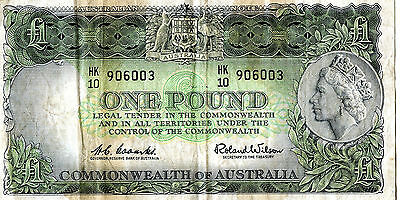One Pound Commonwealth Of Australia Bank Note - Coombs / Wilson - Prefix Hk 10